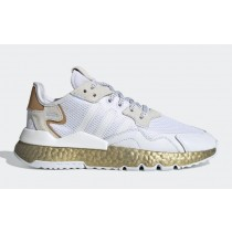 Adidas Nite Jogger Femme Blanche/Periwinkle/Gold Metallic FV4138