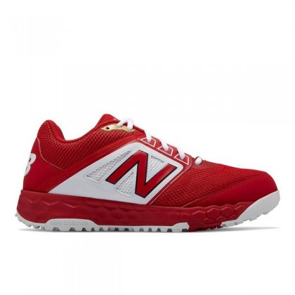 New Balance Homme 3000v4 Turf Chaussures (T3000TR4): Rouge avec Blanche
