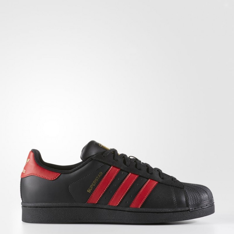 Superstar Chaussures Noir/Scarlet/Or Metallic S80694